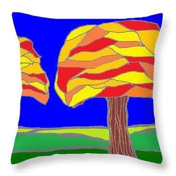 Autumn Stained Glass 1 Throw Pillow