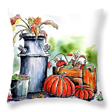 Throw Pillow featuring the painting Autumn Still Life 1 by Terry Banderas