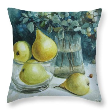 Throw Pillow featuring the painting Autumn Still Life 3 by Elena Oleniuc