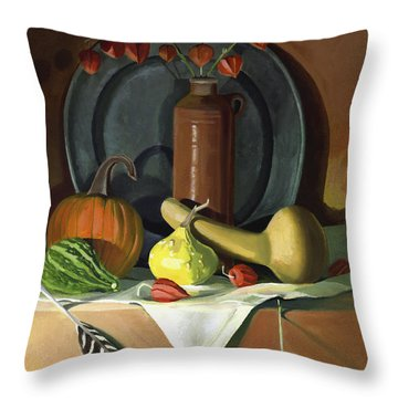 Throw Pillow featuring the painting Autumn Still Life by Nancy Griswold