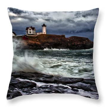 Autumn Storm At Cape Neddick Throw Pillow