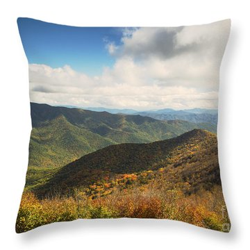 Autumn Storm Clouds Blue Ridge Parkway Throw Pillow