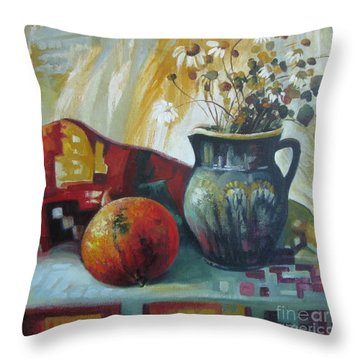 Throw Pillow featuring the painting Autumn Story by Elena Oleniuc