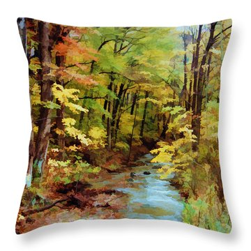 Autumn Stream Throw Pillow by Diane Alexander