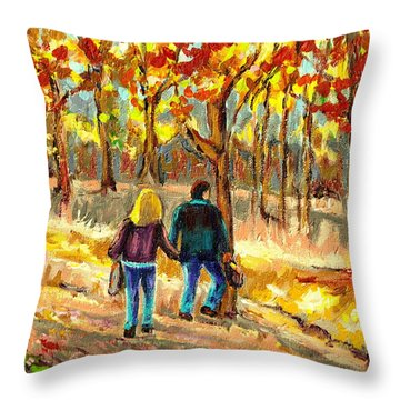 Autumn  Stroll On Mount Royal Throw Pillow