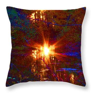 Autumn Sunburst Reflections Throw Pillow