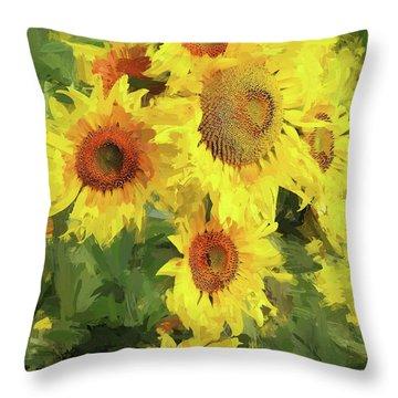 Autumn Sunflowers Throw Pillow by Tina LeCour