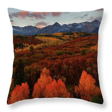 Autumn Sunrise At Dallas Divide In Colorado Throw Pillow by Jetson Nguyen