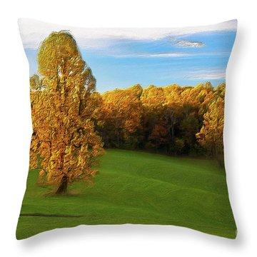 Throw Pillow featuring the painting Autumn Sunrise On A Blue Ridge Meadow Ap by Dan Carmichael