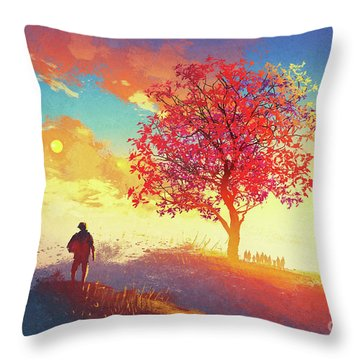Autumn Sunrise Throw Pillow