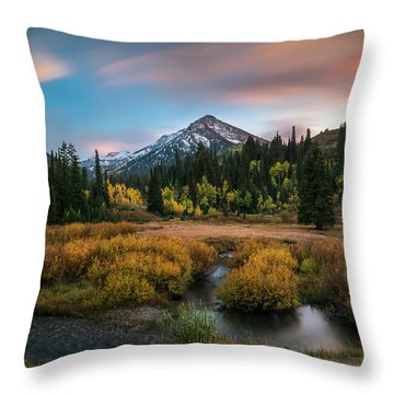 Autumn Sunset In Big Cottonwood Canyon Throw Pillow