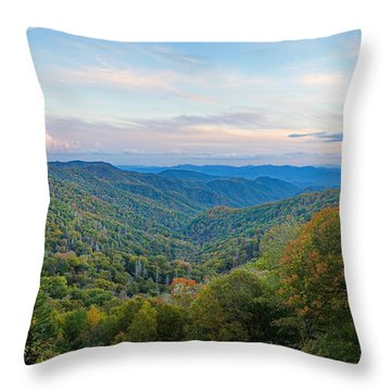 Autumn Sunset In The Smokey Mountains Throw Pillow