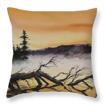 Throw Pillow featuring the painting Autumn Sunset Mist by James Williamson