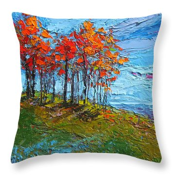 Throw Pillow featuring the painting Autumn Sunset - Modern Impressionist Palette Knife Oil Painting by Patricia Awapara