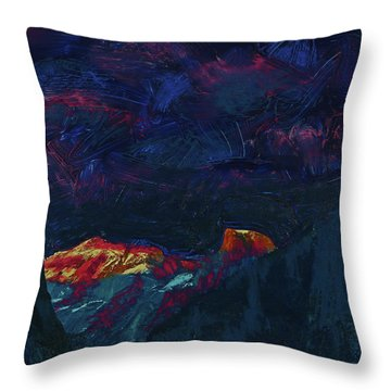 Throw Pillow featuring the mixed media Autumn Sunset Over Half Dome 2013 B by Walter Fahmy