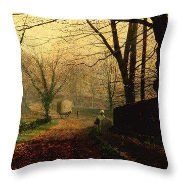Autumn Sunshine Stapleton Parknear Pontefract  Throw Pillow by John Atkinson Grimshaw