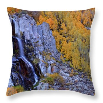 Autumn Surrounds Mist Falls In The Eastern Sierras Throw Pillow