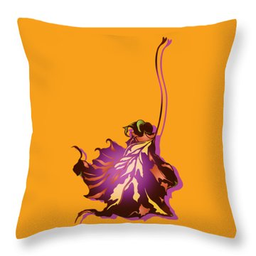 Throw Pillow featuring the digital art Autumn Sycamore Leaf by MM Anderson