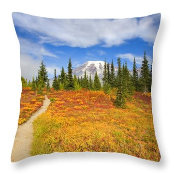 Autumn Trail Throw Pillow by Mike  Dawson