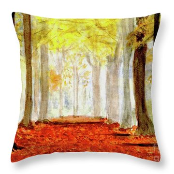 Throw Pillow featuring the painting Autumn Trail by Yoshiko Mishina