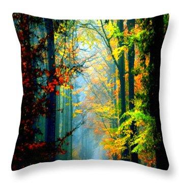 Autumn Trails In Georgia Throw Pillow by Rafael Salazar