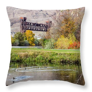 Autumn Train Bridge Throw Pillow