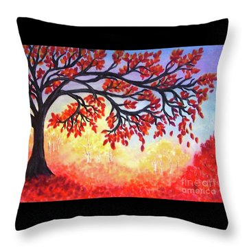 Throw Pillow featuring the painting Autumn Tree by Sonya Nancy Capling-Bacle