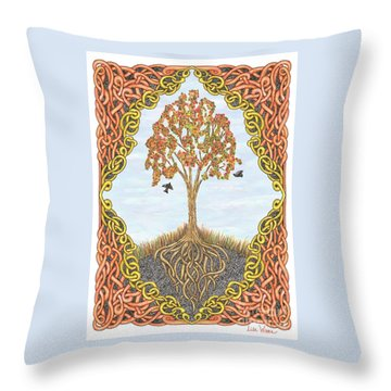 Autumn Tree With Knotted Roots And Knotted Border Throw Pillow by Lise Winne