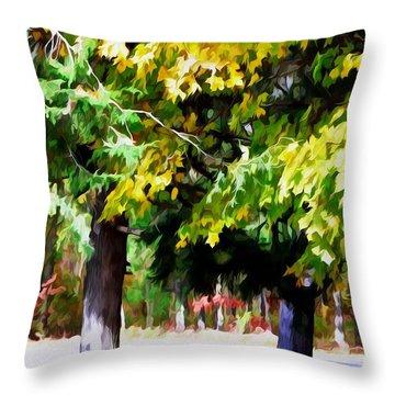 Autumn Trees 7 Throw Pillow by Lanjee Chee