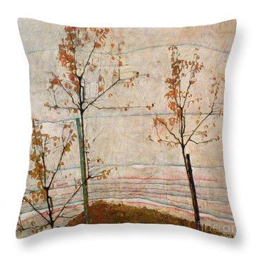 Autumn Trees Throw Pillow by Egon Schiele