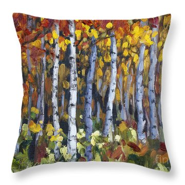 Throw Pillow featuring the painting Autumn Trees by Jennifer Beaudet
