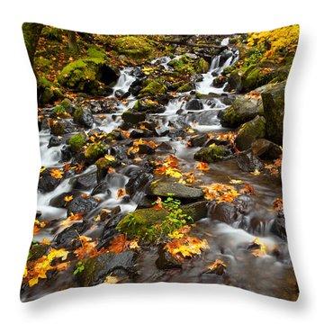 Autumn Tumbles Down Throw Pillow by Mike  Dawson
