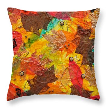 Autumn Leaves Underfoot Throw Pillow