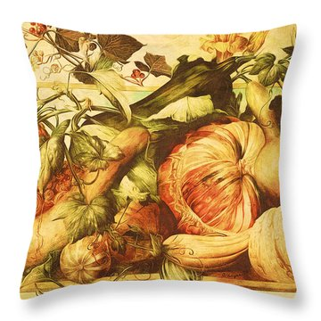 Autumn Vegetable Harvest  Throw Pillow
