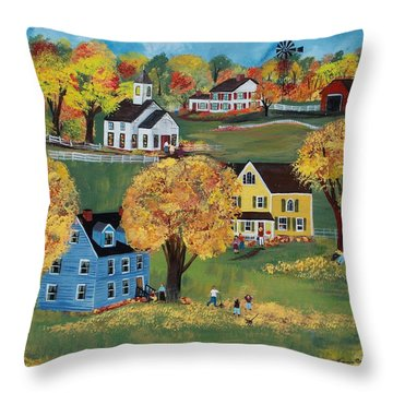 Throw Pillow featuring the painting Autumn by Virginia Coyle