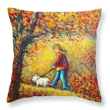 Throw Pillow featuring the painting Autumn Walk  by Natalie Holland