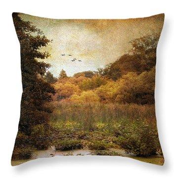 Autumn Wetlands Throw Pillow by Jessica Jenney