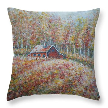 Throw Pillow featuring the painting Autumn Whisper. by Natalie Holland