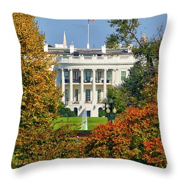 Throw Pillow featuring the photograph Autumn White House by Mitch Cat