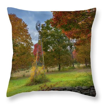 Throw Pillow featuring the photograph Autumn Windmill by Bill Wakeley