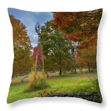 Throw Pillow featuring the photograph Autumn Windmill Square by Bill Wakeley