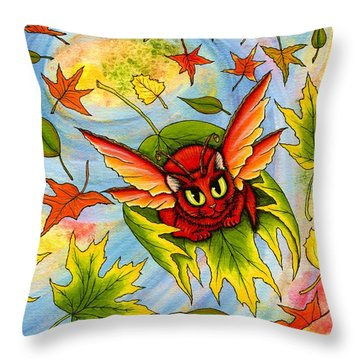 Throw Pillow featuring the painting Autumn Winds Fairy Cat by Carrie Hawks