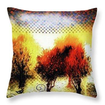 Autumn With Cat Focus Throw Pillow