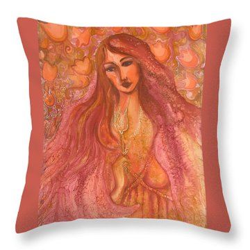 Autumn With Gold Flower Throw Pillow