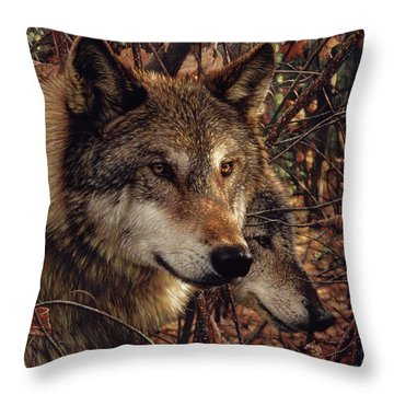 Autumn Wolves Throw Pillow