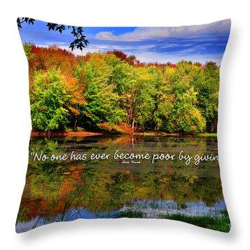 Throw Pillow featuring the photograph Autumn Wonders Giving by Diane E Berry
