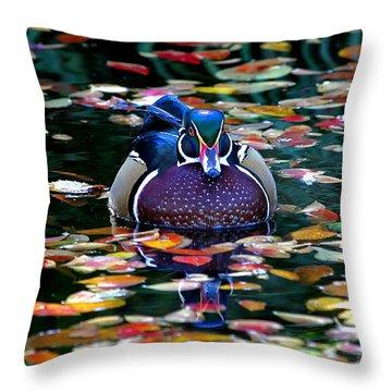 Autumn Wood Duck Throw Pillow