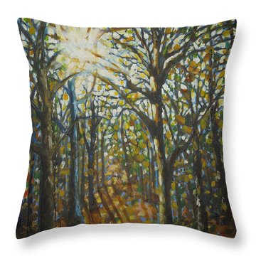 Autumn Wood Throw Pillow