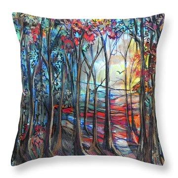 Autumn Woods Sunrise Throw Pillow