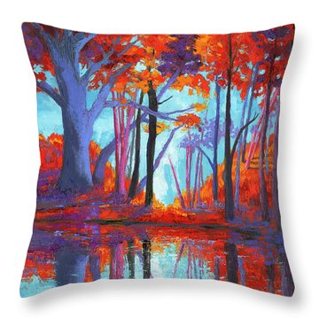 Throw Pillow featuring the painting Autumnal Landscape, Impressionistic Art by Patricia Awapara